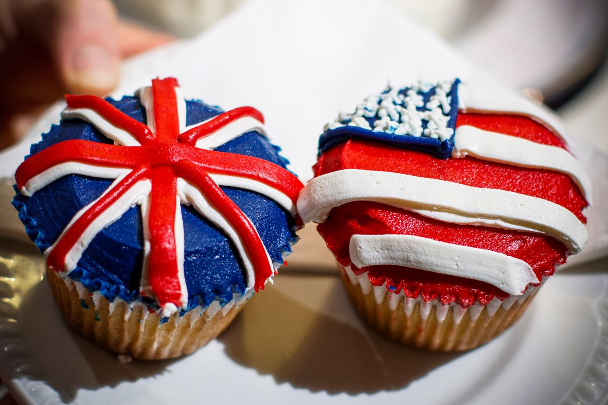 Cupcakes from the Hummingbird Bakery decorated to mark the upcoming Royal Wedding.