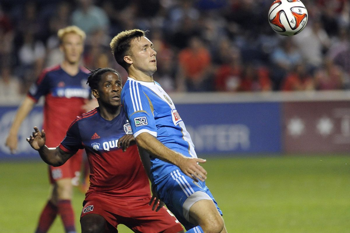 Lovel Palmer could have his hands full with the power-and-pace game of Andrew Wenger attacking the Fire's right flank.
