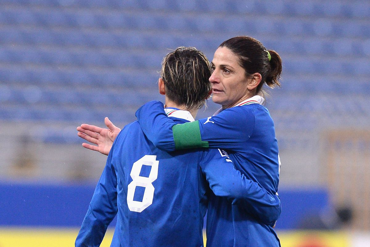 Our new top striker, Patricia Panico, celebrating a goal for Italy. Photo