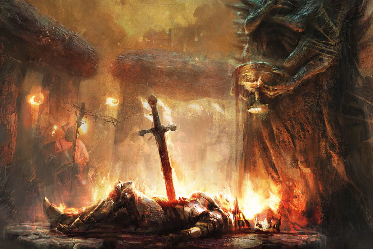 Art from the prototype cover of Tainted Grail: The Fall of Avalon.