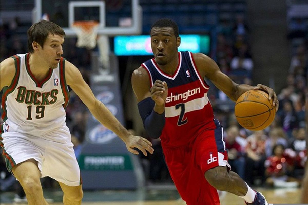 Feb 28, 2012; Milwaukee, WI, USA;  Washington Wizards guard John Wall (2) during the game against the Milwaukee Bucks at the Bradley Center.  The Bucks defeated the Wizards 119-118.  Mandatory Credit: Jeff Hanisch-US PRESSWIRE