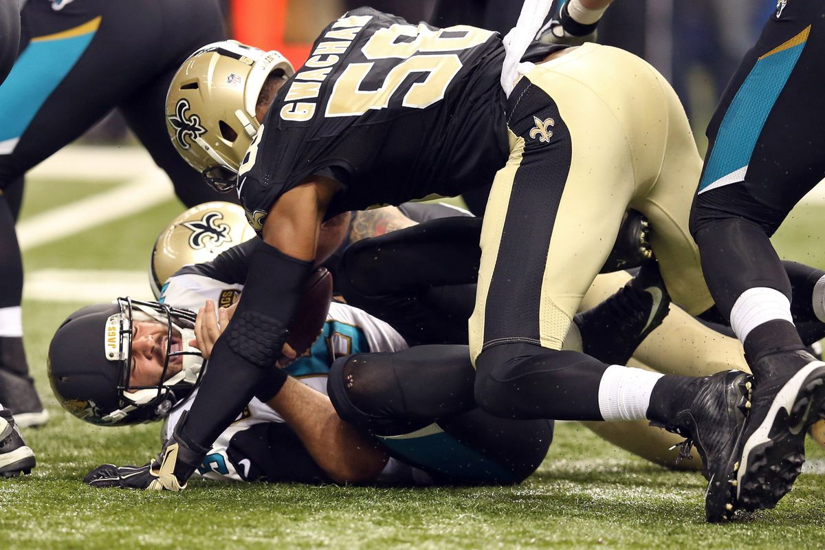 Obum Gwacham (58) sacks Jacksonville Jaguars quarterback Black Bortles (5).
