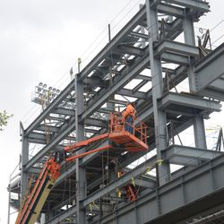 2:39 p.m. Workers still up in the right field video board structure -
