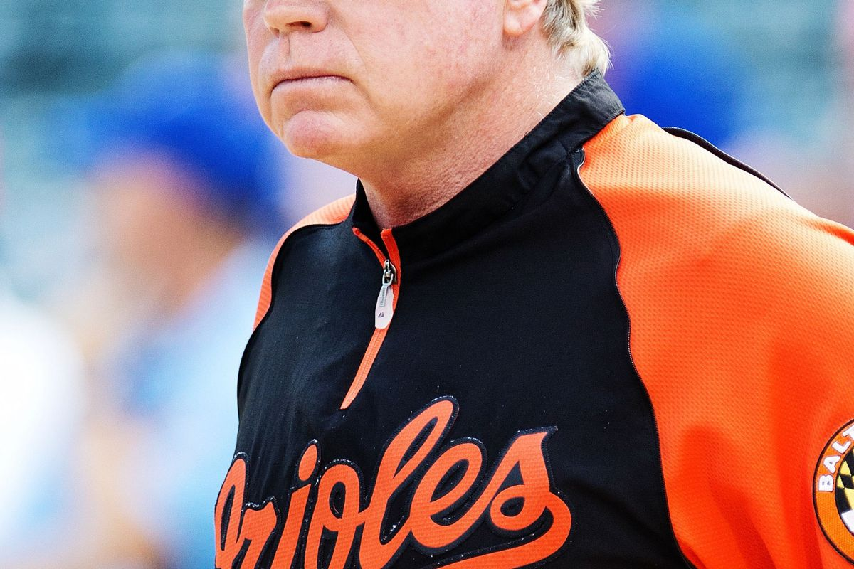 Aug 21, 2012; Arlington, TX, USA; Baltimore Orioles manager Buck Showalter (26)  before the game against the Texas Rangers at Rangers Ballpark.  The Orioles won 5-3. Mandatory Credit: Kevin Jairaj-US PRESSWIRE