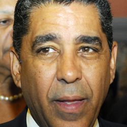 FILE- In this June 14, 2011 file photo, Sen. Adriano Espaillat, D-Manhattan, speaks with Housing Advocates to make announcements on rent regulations during a press conference at the Capitol in Albany, N.Y.  On June 26, 2102, Espaillat will challenge incumbent Charles Rangel in New York's Democratic primary.  He will be seeking the seat in the U.S. House of Representatives that Rangel held since the early 1970's.