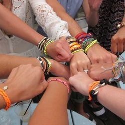 Super-hottest of hot editors, Teen Vogue's Mary Kate Steinmiller, got us all matching neon friendship bracelets -- just like real summer camp.