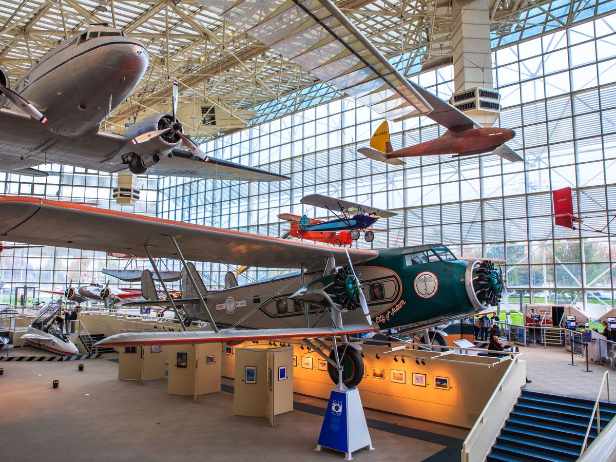 Various assorted planes on exhibit at the Museum of Flight in Seattle.