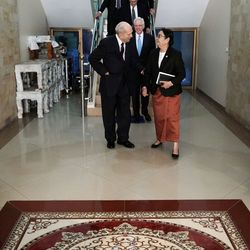 President Russell M. Nelson of The Church of Jesus Christ of Latter-day Saints, talks with Sopheak Thavy, secretary of state for the Ministry of National Assembly-Senate Relations and Inspection in Phnom Penh, Cambodia, on Tuesday, Nov. 19, 2019.