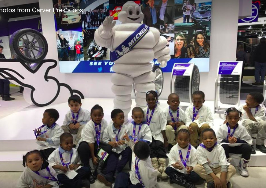 Students in LaWanda Marshall's Detroit pre-Kindergarten class attend the North American International Auto Show through PNC'S Grow Up Great program
