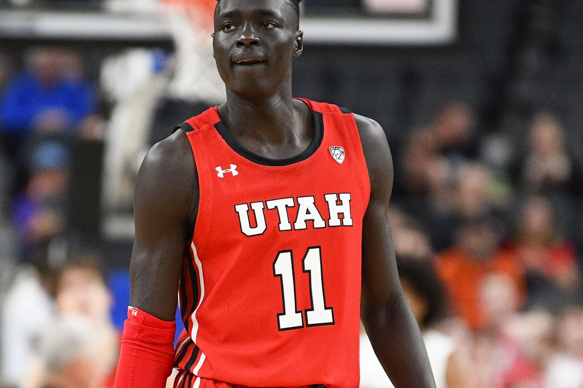 Utah Utes guard Both Gach looks on during the first round game of the men's Pac-12 Tournament between the Oregon State Beavers and the Utah Utes on March 11, 2020, at the T-Mobile Arena in Las Vegas, NV.