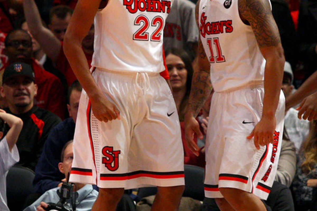 <strong>Amir Garrett</strong> (22) will play his first full season with the Johnnies in 2012-13.  The sophomore will play an important role in the team's efforts this season.