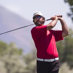 Joe Summerhays tees off on the third day of the 78th Provo Open at East Bay Golf Course in Provo Saturday, June 10, 2017.