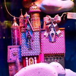 A close-up look at Mrs. Claus's gingerbread house