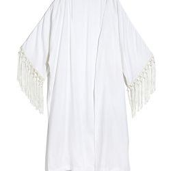 Fringe kimono in white, $30, XS-XXL, 1X-3X (plus-size online only)