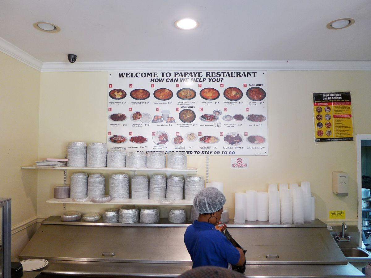 The menu's on the wall