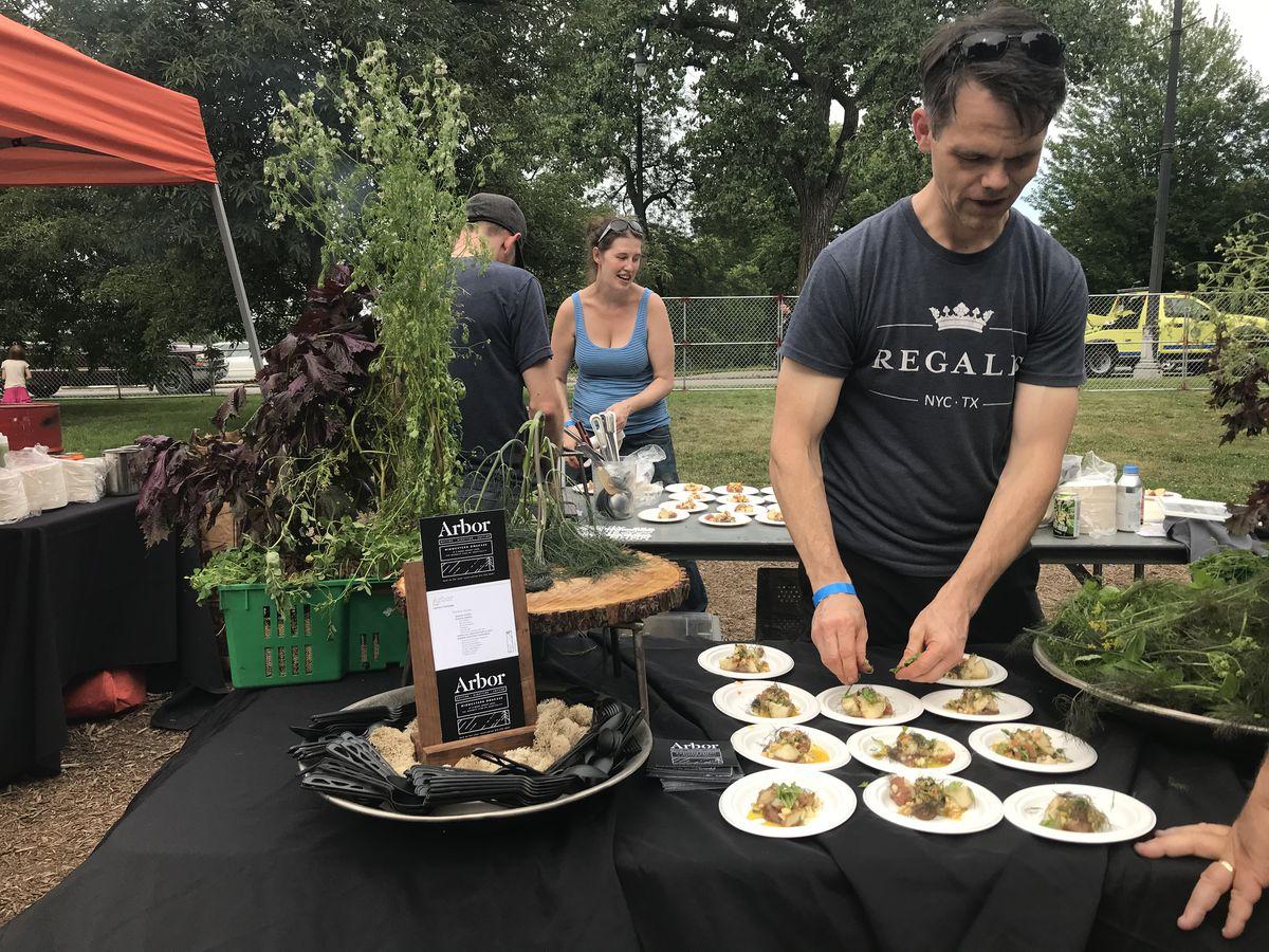 Arbor Chef Leonard Hollander put the finishing touches on his smoked potato salad dish. | Sun-Times Staff