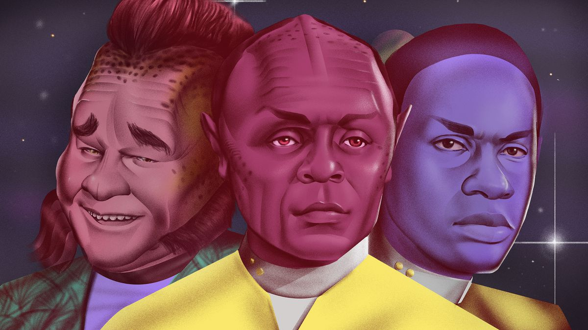 Illustration featuring Neelix and Tuvok from Star Trek: Voyager who merge to become Tuvix