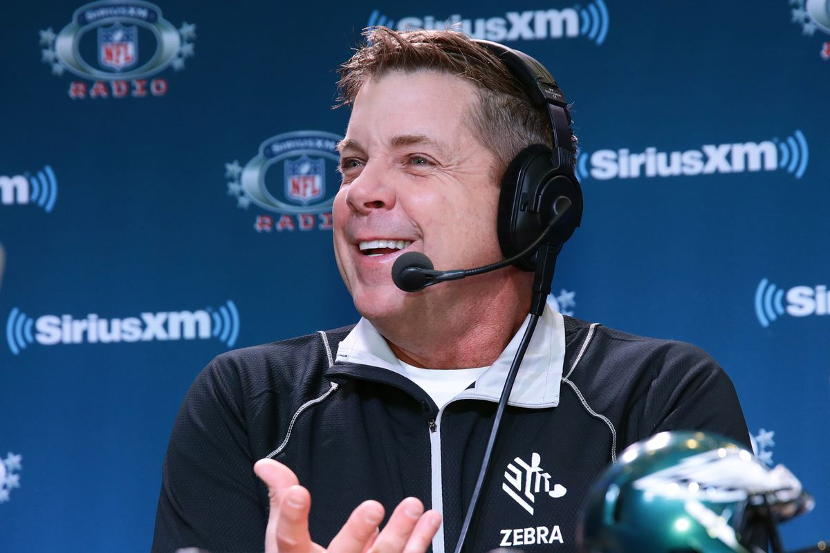MINNEAPOLIS, MN - New Orleans Saints head coach Sean Payton attends a SiriusXM interview session at Super Bowl LII Radio Row at the Mall of America.