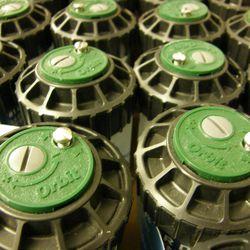 Sprinkler heads manufactured by Orbit Irrigation Products, Inc. in North Salt Lake, Utah.