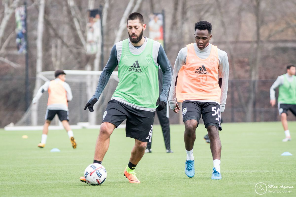 Dempsey and Agbossoumonde at First Practice