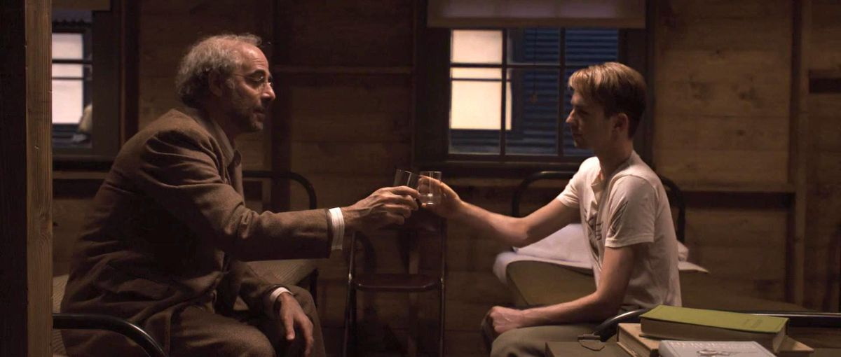 Erksine toasting Steve on the eve of his transformation into Captain America