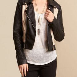 "<b>Bar III</b> Colorblocked Jacket in Black Combo, <a href=""http://www1.macys.com/shop/product/bar-iii-jacket-faux-leather-colorblocked-motorcyle?ID=941817&CategoryID=120#fn=GENDER_AGE%3DWomen%26sp%3D1%26spc%3D118%26kws%3Dbiker%26slotId%3D17"">$109</a> at"