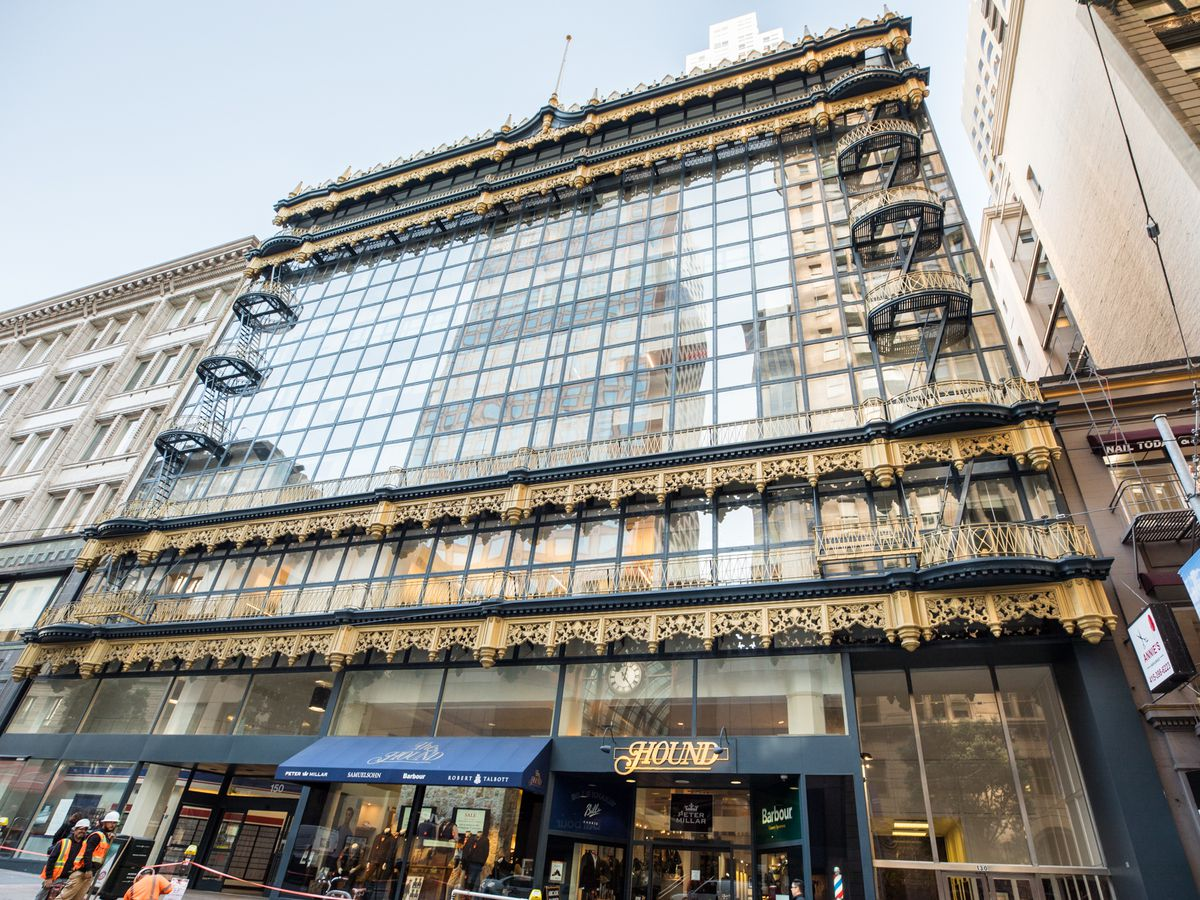 The facade of the Hallidie Building which is made up primarily of glass.