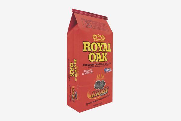 A bag of Royal Oak charcoal briquets on a white background