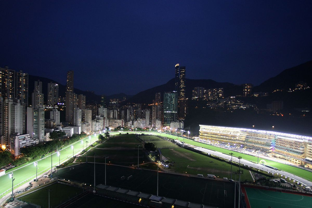 HONG KONG - APRIL 23: A general view of the racecourse from the Hong Kong Jockey Clubs administration building during the Happy Valley Night Races on April 23, 2008 in Hong Kong. (Photo by Mark Dadswell/Getty Images)