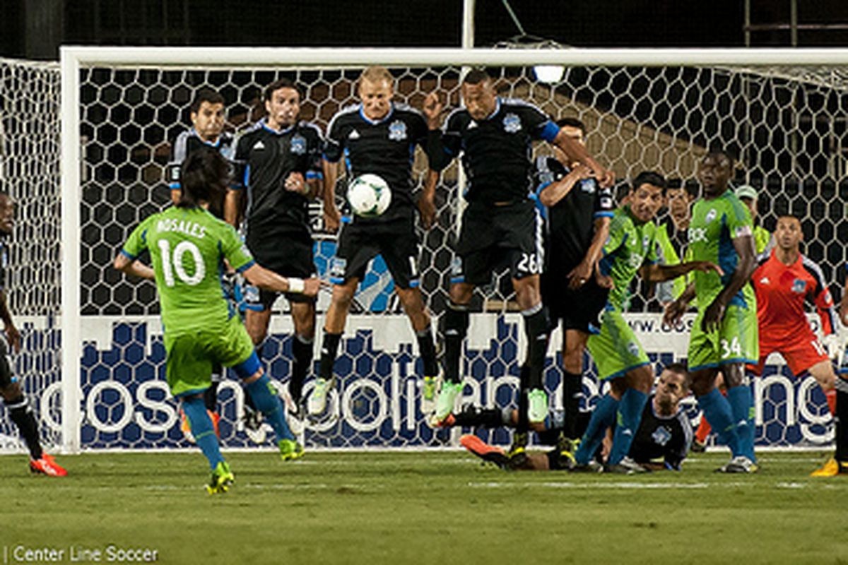 Lenny and the Quakes block a last-ditch free kick attempt from the Sounders