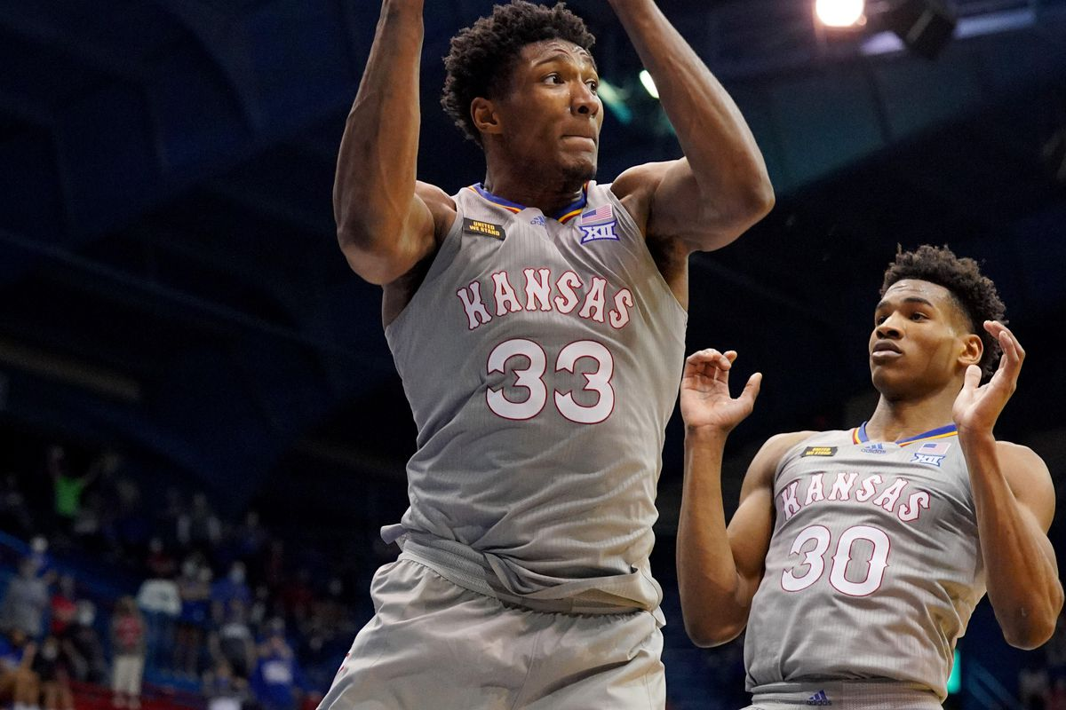 Kansas Jayhawks forward David McCormack pulls down a rebound during the second half against the UTEP Miners at Allen Fieldhouse.