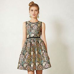 """Anthropologie <a href=""""http://www.anthropologie.com/anthro/product/clothes-dresses/29100955.jsp"""">Starshine brocade dress</a>, $188 at anthropologie.com.<br /><br />  <b>Anthropologie</b> caters to a girly aesthetic with plenty of whimsical prints and fi"""