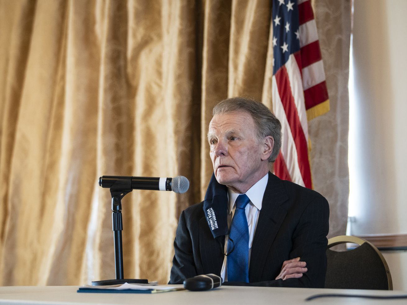Former House Speaker Michael Madigan attends a Democratic committeepersons meeting on the Southwest Side to decide who will take over his House seat on Thursday.