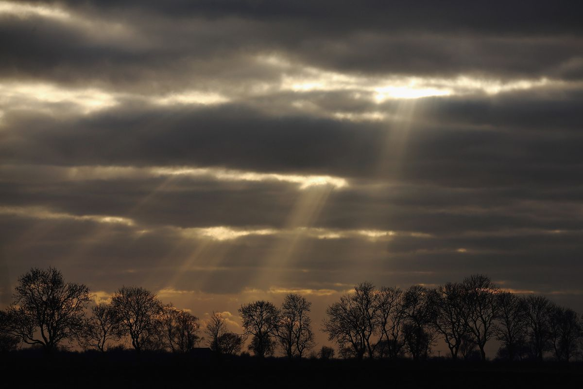The Sun Breaks Through Low Cloud Over Rural Lincolnshire