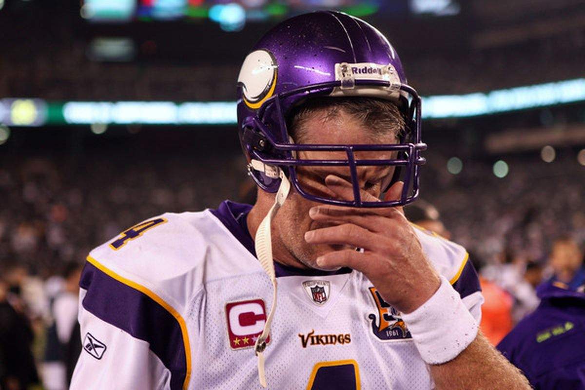 """Brett Favre: """"wimpy injury"""" to elbow not pictured."""