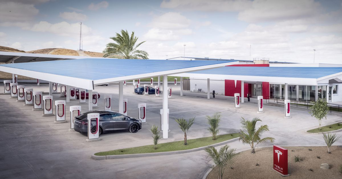 Tesla unveils its largest Supercharger station in the US — and it kind of looks like a truck stop