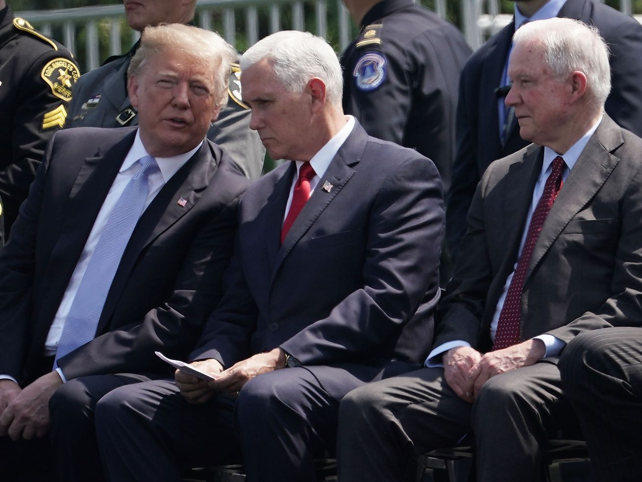 President Donald Trump, Vice President Mike Pence, and Attorney General Jeff Sessions attend the 37th Annual National Peace Officers' Memorial Service May 15, 2018.