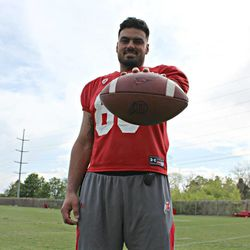 """Utah tight end Wallace Gonzalez poses for a photo after Utah's practice on Thursday, April 23, 2015.  <img style=""""height:1px; width:1px;"""" src=""""http://beacon.deseretconnect.com/beacon.gif?cid=275460&pid=7"""" data-storyId=""""155804"""" data-publisherId=""""7"""" />"""