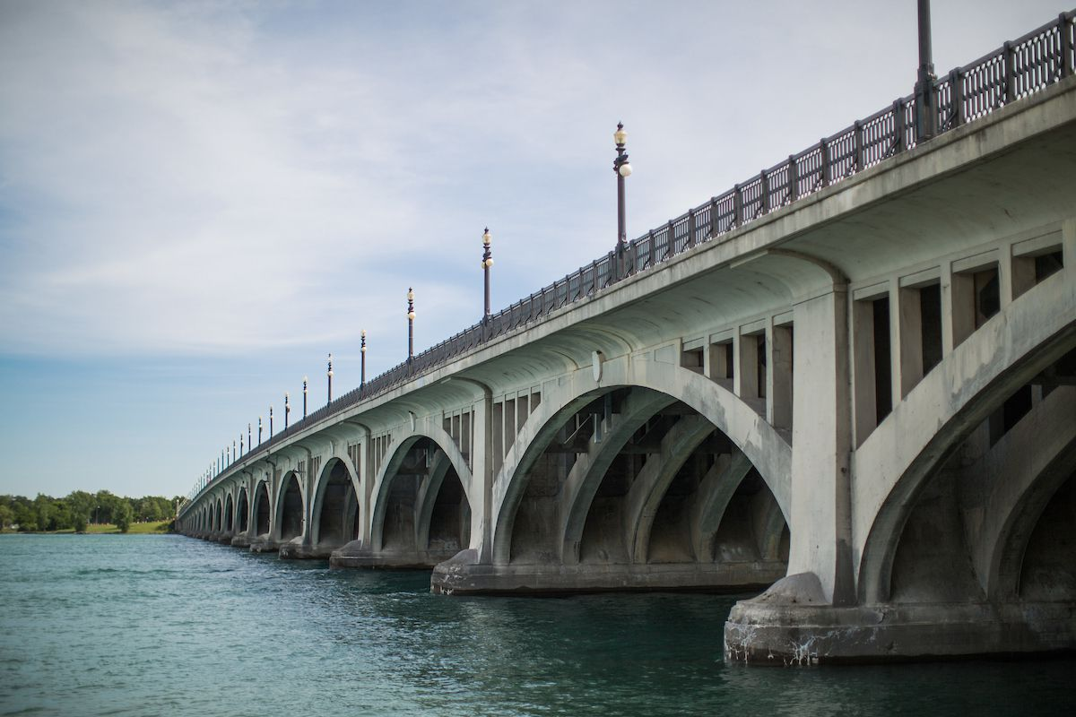 A bridge spanning over a body of water in Belle Isle, Detroit.