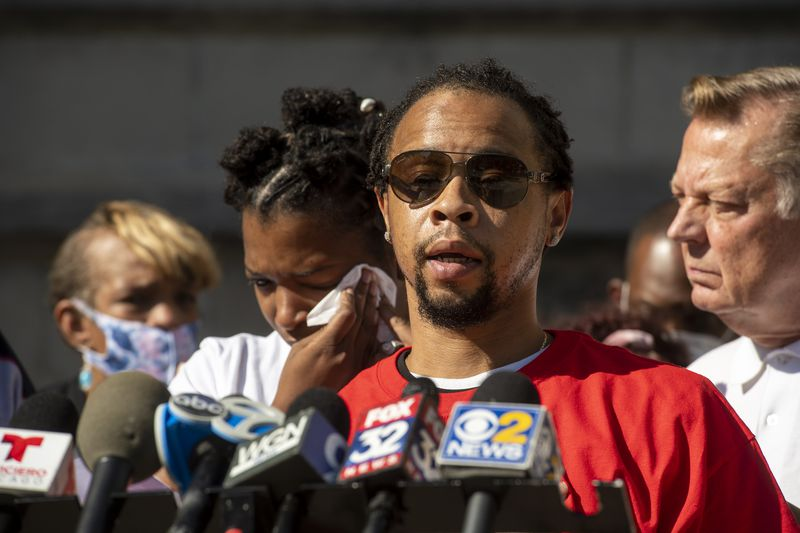Mychal Moultry Sr. father of slain 4-year-old Mychal Moultry Jr., speaks to reporters about his son at St. Sabina Church on Thursday, Sept. 9, 2021.