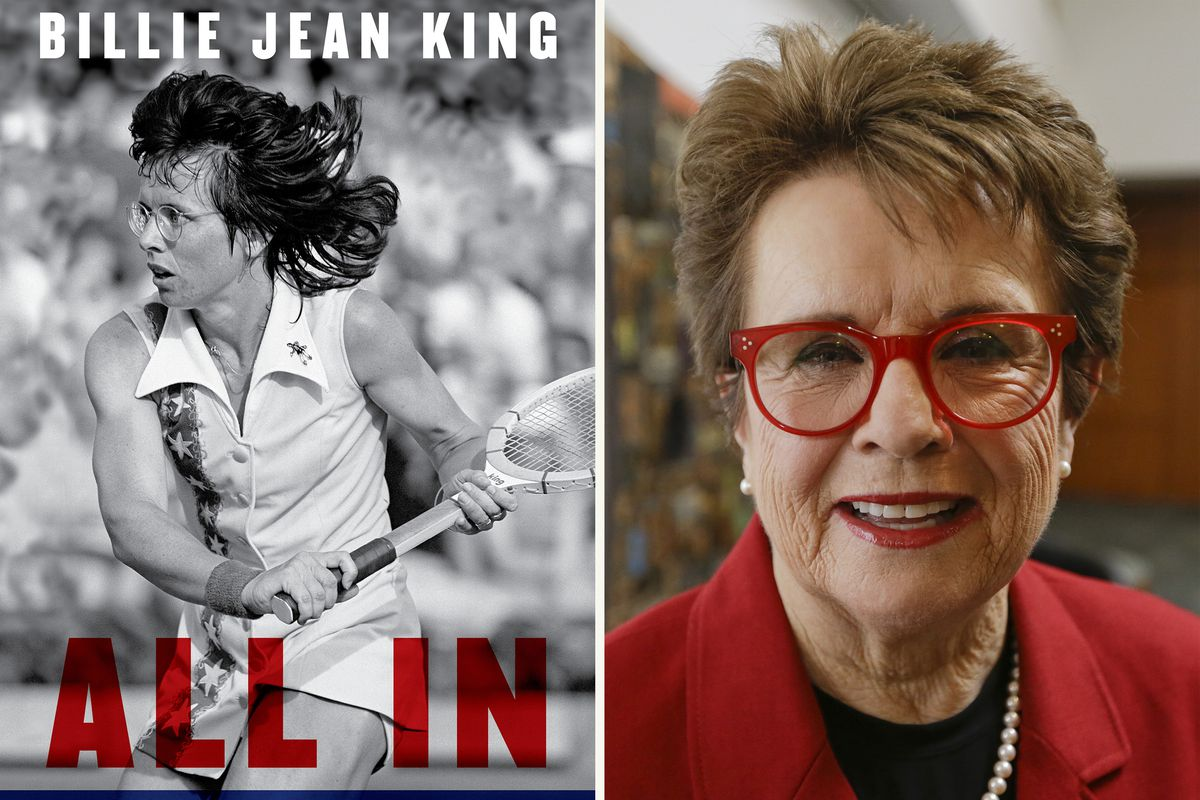 """This combination photo shows the cover of """"All In: An Autobiography"""" by Billie Jean King, and King posing for a portrait in 2015."""