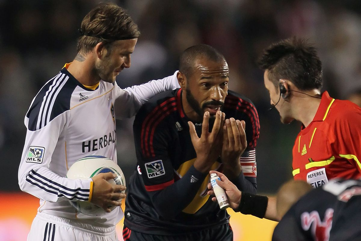 David Beckham consoles Thierry Henry by reminding him that they both make more than $2,000 a minute to argue with the ref.