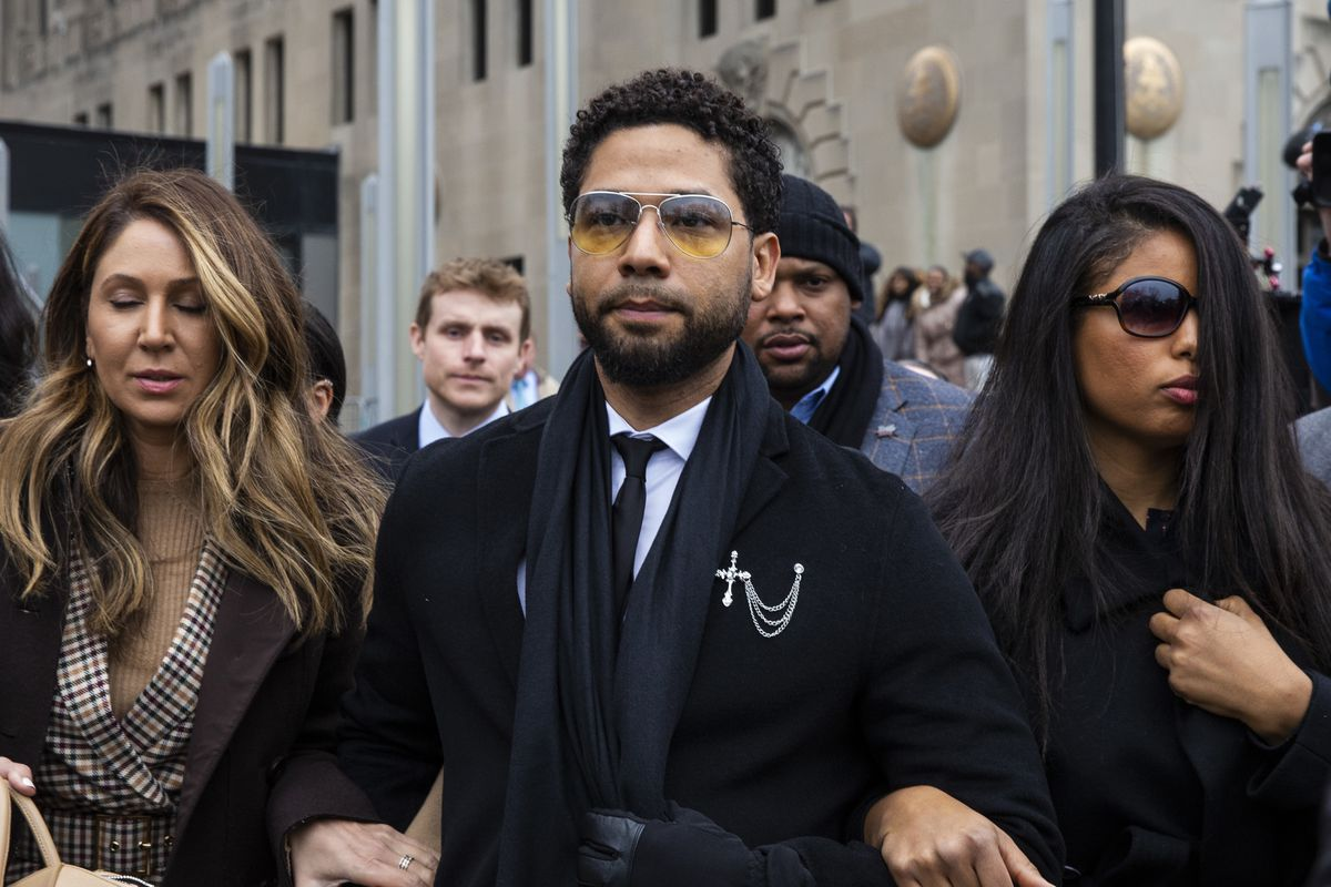 Actor Jussie Smollett leaves the Leighton Criminal Courthouse on Feb. 24 after pleading not guilty to charges of disorderly conduct.