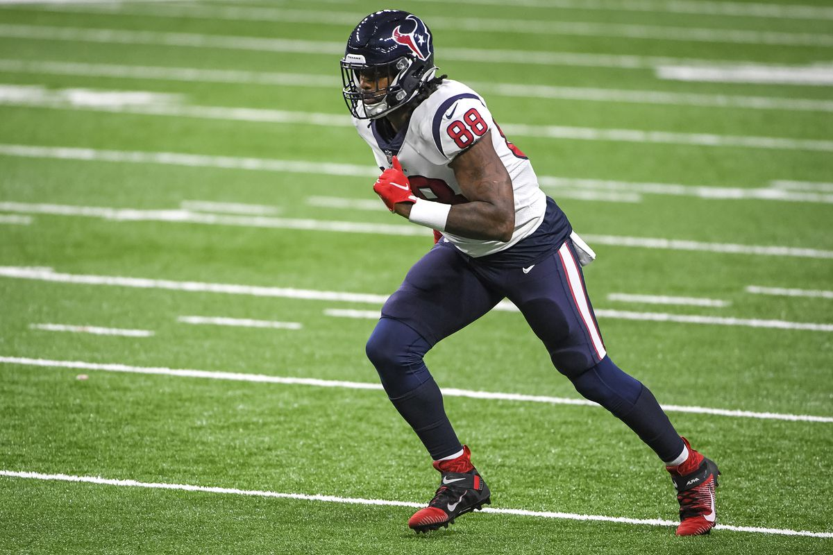 Jordan Akins #88 of the Houston Texans runs against the Detroit Lions during the third quarter at Ford Field on November 26, 2020 in Detroit, Michigan.
