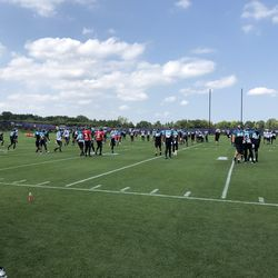 Jaguars warming up for practice