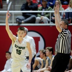 Olympus and Corner Canyon play for the 5A basketball championship in the Jon M. Huntsman Center at the University of Utah on Saturday, March 3, 2018.