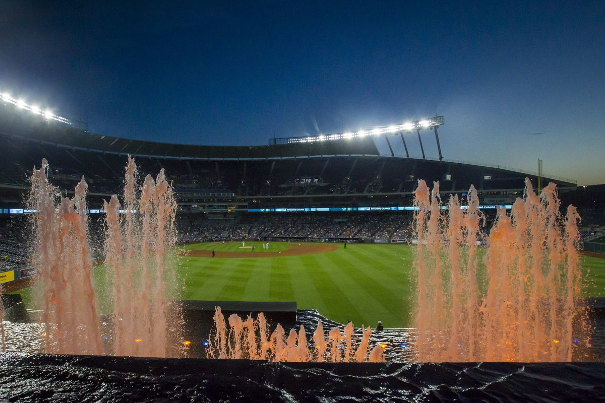 An internal view of the stadium fountains during the MLB regular season game between the Boston Red Sox and the Kansas City Royals, on Tuesday June 4, 2019 at Kauffman Stadium in Kansas City, MO.