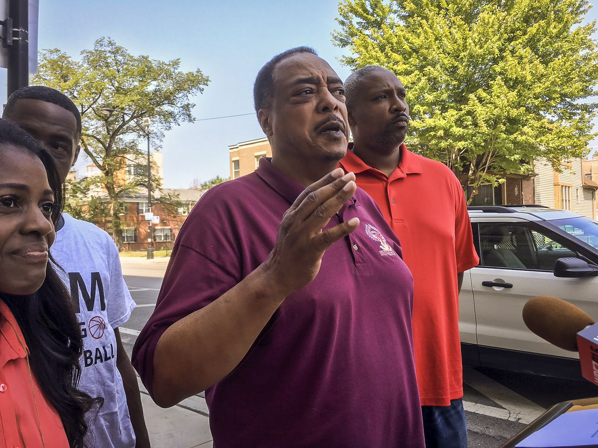 Earnest Gates, host of the West Haven Safe Summer Basketball League, talks to reporters Wednesday in the aftermath of a brawl at the united Center Monday. The fights outside the venue forced the cancellation of the basketball league's championship games.