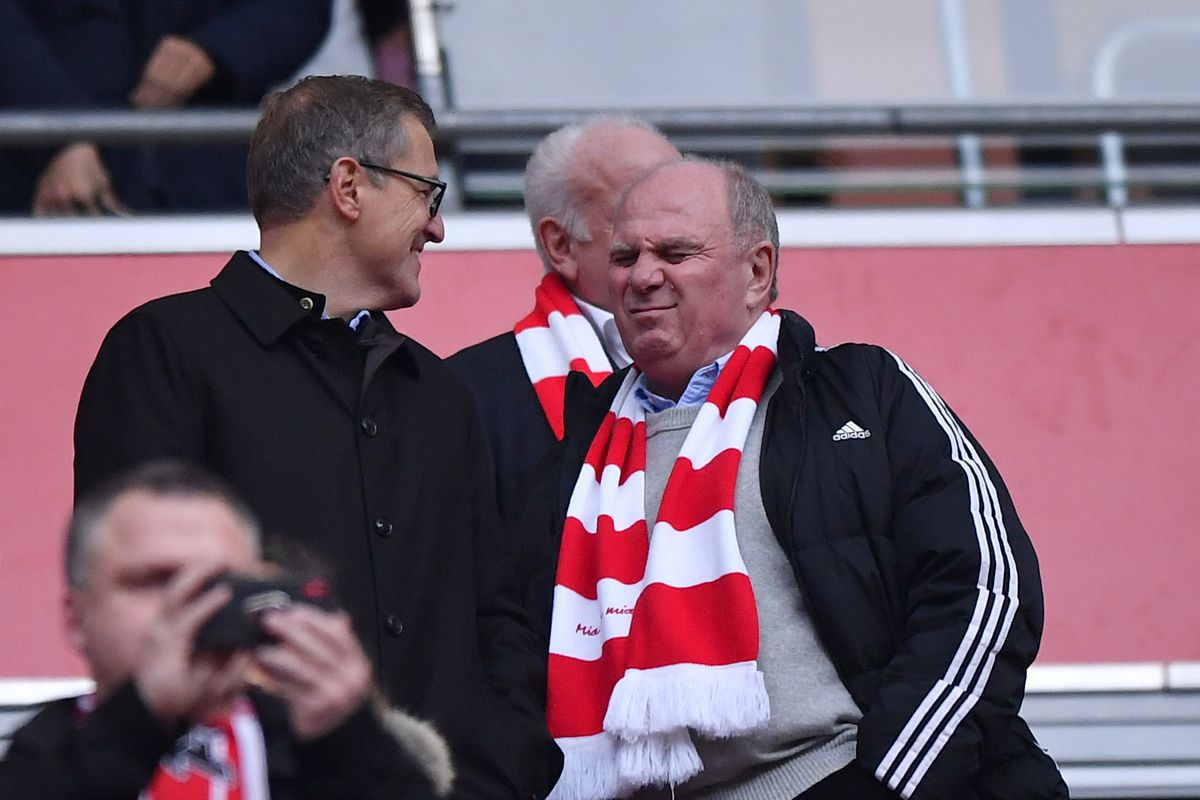 MUNICH, GERMANY - NOVEMBER 24: Uli Hoeness, President of FC Bayern Muenchen reacts prior to the Bundesliga match between FC Bayern Muenchen and Fortuna Duesseldorf at Allianz Arena on November 24, 2018 in Munich, Germany.