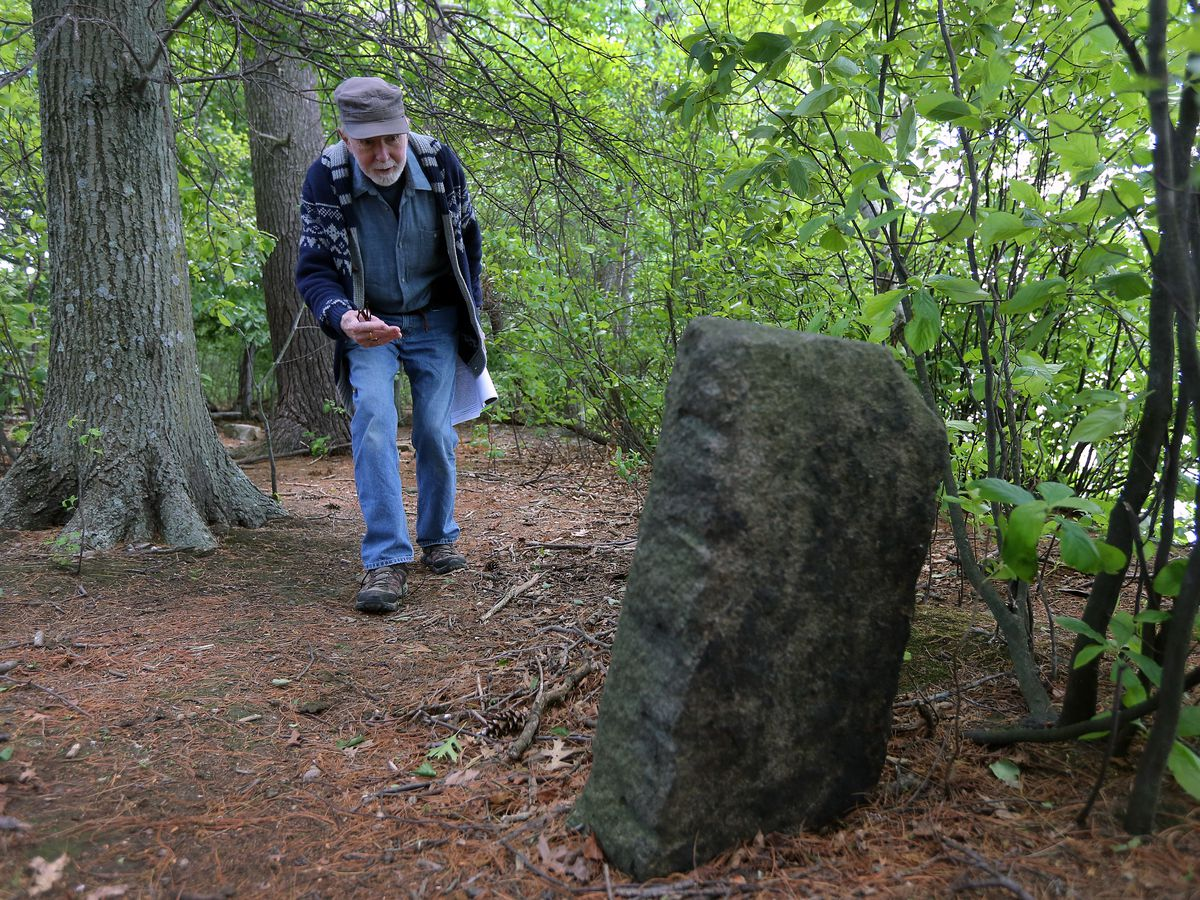 An older man coming upon a trail marker in a forest.
